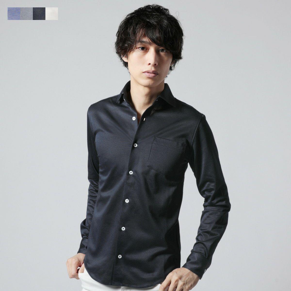 ニットピケストライプホリゾンタルカラーカットシャツ